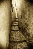 Die mittelalterlichen Straßen von erice, Weinleseart Stockfoto