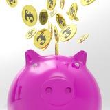Die Münzen, die Piggybank anmelden, zeigt International Stockfotografie