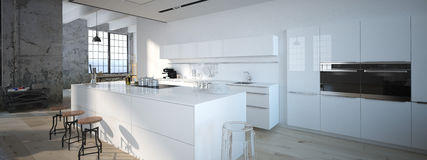Die moderne Küche Wiedergabe 3d Lizenzfreie Stockbilder