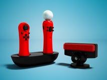 Die modernen roten Gamecontroller, die für Videospiele mit Bewegungs-Sensoren 3D drahtlos sind, übertragen auf blauem Hintergrund lizenzfreie abbildung