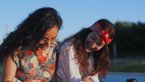 Die modernen Studenten der hübschen Mädchen haben Gespräch im Park sprechend und lachend, Buch und Kaffee halten stock video footage