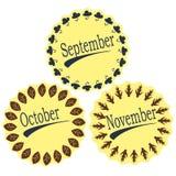 Die Monate des Herbstes Stockbild