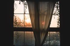Die Morgensonnenlicht Verbreitung durch den Fensterwaldnatur-Gartenhintergrund, Lebensstilkonzeptidee relax entwickeln Sie Gefühl lizenzfreies stockbild