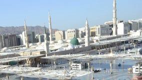 Die Moschee des Prophets in der Medina-Zeitspanne an der Nachmittagsnahaufnahme stock video