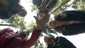 Die motivierten Trekkers team auf Bergsteigenwettbewerbs-Planungsstrategie Teamwork-Geste des Hochs fünf mit den Händen zujubelnd stock video footage
