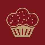 Die Muffinikone Nachtisch und gebacken, Kuchen, Bäckereisymbol flach Stockfotografie