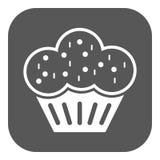 Die Muffinikone Nachtisch und gebacken, Kuchen, Bäckereisymbol flach Lizenzfreies Stockbild