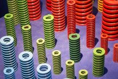 Die multi Farbe der Schraubenfeder auf dem Boden Stockfoto
