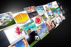 Die Multimedia strömen mit großem Bildschirm Stockbild