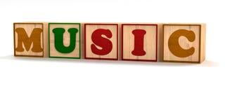 Musik buchstabierte Kinderfarbblöcke lokalisiert auf Weiß Stockbild