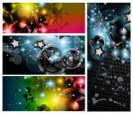 Die Musik-Klumpenfahnen, die für Disco eingestellt werden, tanzen Flugblätter Lizenzfreie Stockfotos