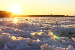 Die Muster gemacht durch den Frost auf dem gefrorenen Pool Lizenzfreie Stockfotografie