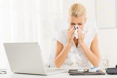 Die nörgelnde Grippe Stockbild