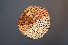 Die Nüsse in Form eines Kreisdiagramms Lizenzfreie Stockfotografie