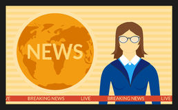 Die Nachrichten im Schirm Fernsehen stock abbildung