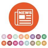 Die Nachrichtenikone Zeitungssymbol flach Lizenzfreies Stockfoto
