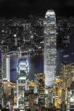 Die Nachtskyline von Hong Kong, ein Großstadtbewohner stockfoto