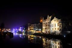 Die Nachtstadt Opole von Polen Stockbild
