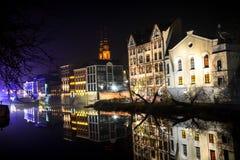 Die Nachtstadt Opole von Polen Stockbilder