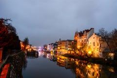 Die Nachtstadt Opole von Polen Lizenzfreie Stockfotos