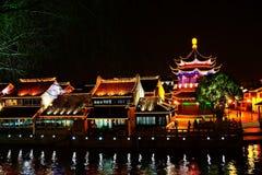 Die Nachtszene in Suzhou-Stadt stockbilder