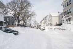 Die Nachwirkungen und die Reinigung des Blizzards von 2013 Lizenzfreies Stockbild