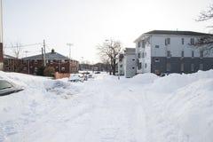 Die Nachwirkungen und die Reinigung des Blizzards von 2013 Stockfotos