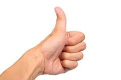 Die Nahaufnahme der männlichen Hand Daumen zeigend up Zeichen Stockbilder