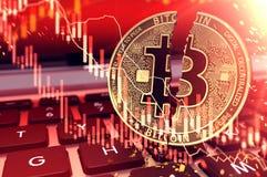 Die Nahaufnahme, die von Bitcoin geschossen wurde, spaltete sich in zwei Stücken auf Tastatur auf Bitcoin-Börsenkurs sinkt Konzep vektor abbildung