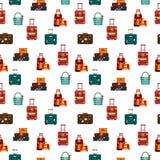 Die nahtlosen Musterreisetaschen, die auf weißem Hintergrund lokalisiert werden, vector Illustration Inkassogeschäft-Reiseverpack Stockfotos