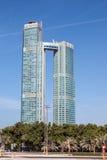 Die Nation ragt Wolkenkratzer in Abu Dhabi hoch Lizenzfreies Stockfoto