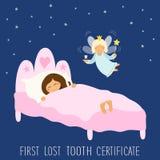 Die nette Hand, die zuerst gezeichnet wurde, verlor Zahn-Zertifikat als schlafendes Kind und lustige lächelnde Zeichentrickfilm-F lizenzfreie abbildung