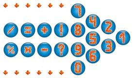 Die netten Anzahlen und mathematische Symbole von dreieckigen Mosaiken Stockfoto