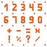 Die netten Anzahlen und mathematische Symbole von dreieckigen Mosaiken Brennende Farben Auch im corel abgehobenen Betrag Lizenzfreies Stockbild
