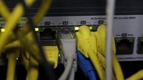 Die Netzwerkausrüstung mit vielen Drähten stock video footage