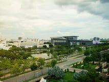 Die neuen Hauptsitze der Aktiengesellschaft CAT-Telekommunikation begrenzt in Thailand stockfoto