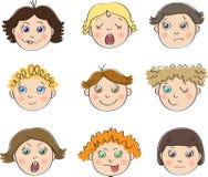 Die neun Gesichter der Kinder mit verschiedenen Stimmungen lizenzfreie abbildung