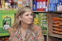 Die niederländischen Königin-Maxima: besuchtes ipay com BD-Speicher in Dhaka stockbild