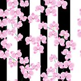 Die Niederlassungen einer schönen rosa Orchidee auf einem hellen Hintergrund mit breiten lila Streifen Nahtloses Muster lizenzfreie abbildung