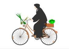 Die Nonne auf einem Fahrrad. vektor abbildung