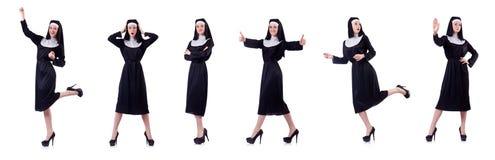 Die Nonne lokalisiert auf dem weißen Hintergrund Stockfotografie