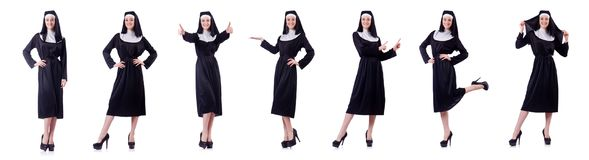Die Nonne lokalisiert auf dem weißen Hintergrund Stockbilder
