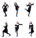 Die Nonne lokalisiert auf dem weißen Hintergrund Stockfotos