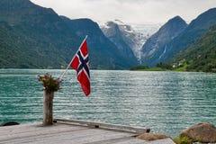 Die norwegische Markierungsfahne lizenzfreie stockfotos