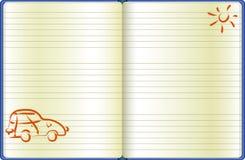 Die Notizbuchseite mit einem gezogenen Auto lizenzfreies stockfoto