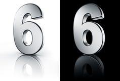 Die Nr. 6 auf weißem und schwarzem Fußboden Stockbild