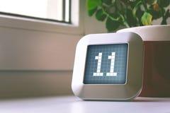 Die Nr. 11 auf einem Digital-Kalender, -thermostat oder -timer Stockfotografie