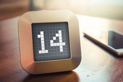 Die Nr. 14 auf einem Digital-Kalender, -thermostat oder -timer Lizenzfreie Stockbilder