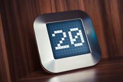 Die Nr. 20 auf einem Digital-Kalender, -thermostat oder -timer Lizenzfreie Stockfotos
