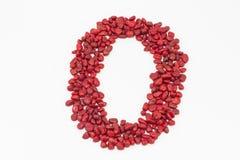 Die Nr. null, gemacht durch rote Steine Stockfotografie